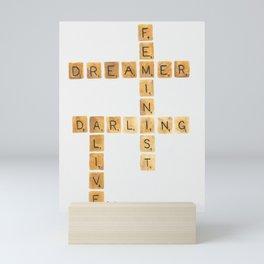Watercolor Scrabble Board for Dreamers Mini Art Print