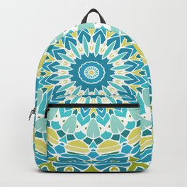Lime Green and Turquoise Blue Mandala Backpack