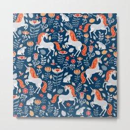 Unicorns, rabbits, birds, flowers. Decorative seamless pattern. Folk art. Metal Print