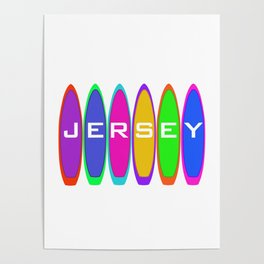 Jersey Surfboards on the Beach Poster