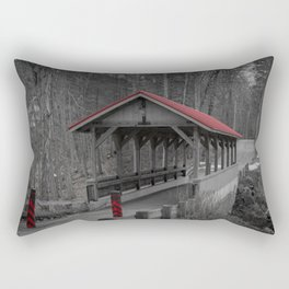 Old Stage Road Romantic Enclosure Covered Bridge Hampton New Hampshire Taylor River Rectangular Pillow