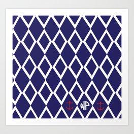 Diamond Anchor Personalized Print Art Print