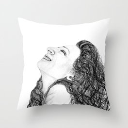 Tell Me Something Good in B/W - Expressions of Happiness Series - Black and White Original Drawing Throw Pillow
