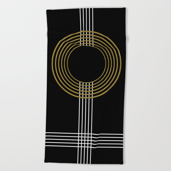 GUITAR IN ABSTRACT (geometric art deco) Beach Towel