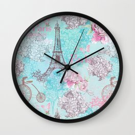 I love Paris-blue vintage illustration Wall Clock