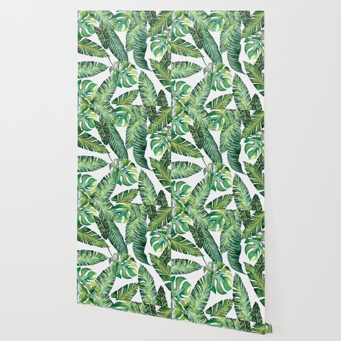 Jungle Leaves Banana Monstera Society6 Wallpaper By Wheimay