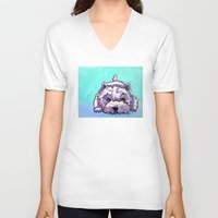 westie V-neck T-shirts featuring Kashi the Westie by Maxfield and Madison