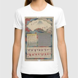 Hiroshige - 36 Views of Mount Fuji (1858) - 00: Table of Contents T-shirt