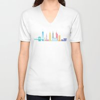 new york skyline V-neck T-shirts featuring New York Skyline Black by Christopher Dina