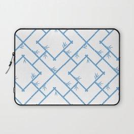 Bamboo Chinoiserie Lattice in White + Light Blue Laptop Sleeve