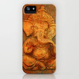 Lord Ganesh On a Distress Stone Background iPhone Case