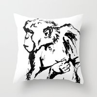 ape Throw Pillows featuring Ape by Kathryn Burton