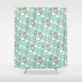 Hot Air Balloons - coral and mint Shower Curtain