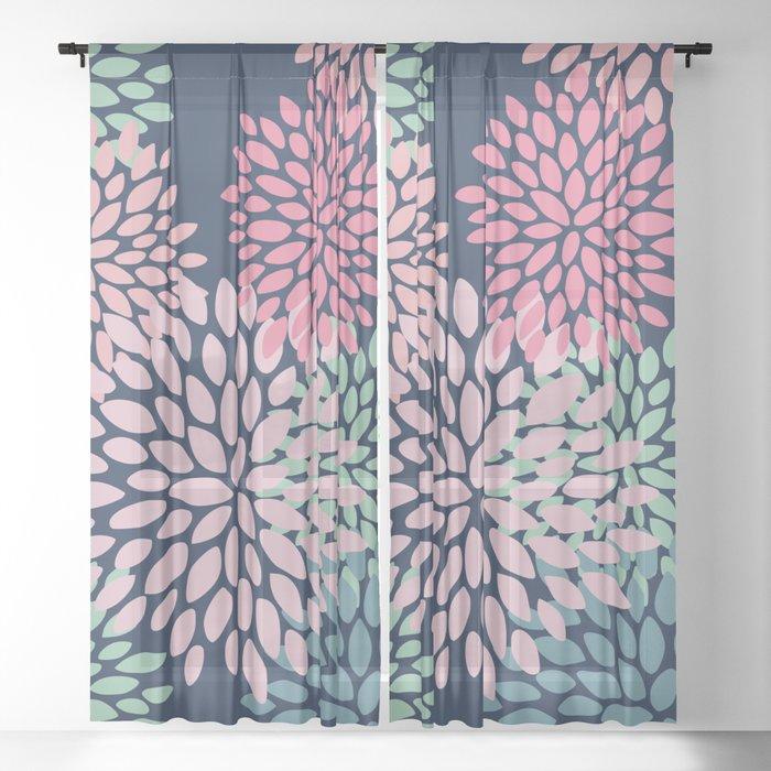 Fl Pattern Navy Blue Pink C Green Sheer Curtain By Meganmorrisart