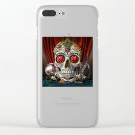 Fortune - Sugar Skull - Jewels, Satin, Rubies, and the Macabre Clear iPhone Case