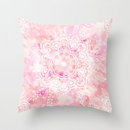 Queen Starring of Mandalas-Rose Throw Pillow