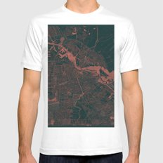 Amsterdam Map Red White MEDIUM Mens Fitted Tee