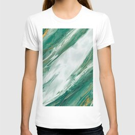 Emerald Jade Green Gold Accented Painted Marble T-shirt