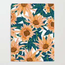 Blush Sunflowers Poster