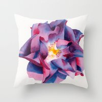 thanksgiving Throw Pillows featuring Thanksgiving Dahlia by Powers Fine Art Watercolor Studio