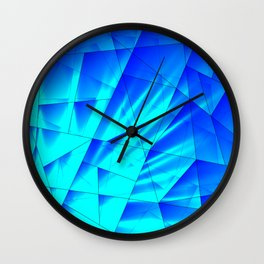Bright sunshine on celestial and blue triangles of irregular shape. Wall Clock