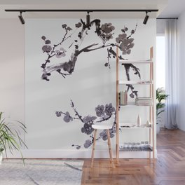 Plum blossom sumie ink painting Wall Mural