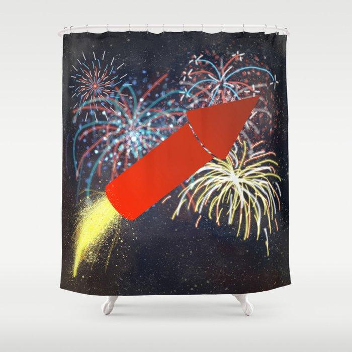 Fireworks Technician Shower Curtain