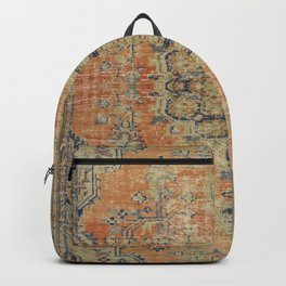 Vintage Woven Coral and Blue Kilim Backpack