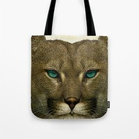 tom selleck Tote Bags featuring Tom by Vin Zzep