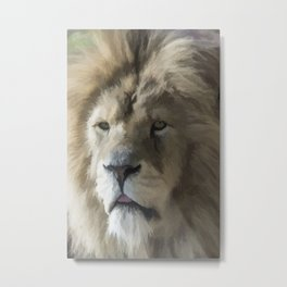 Lion Portrait Watercolour Metal Print