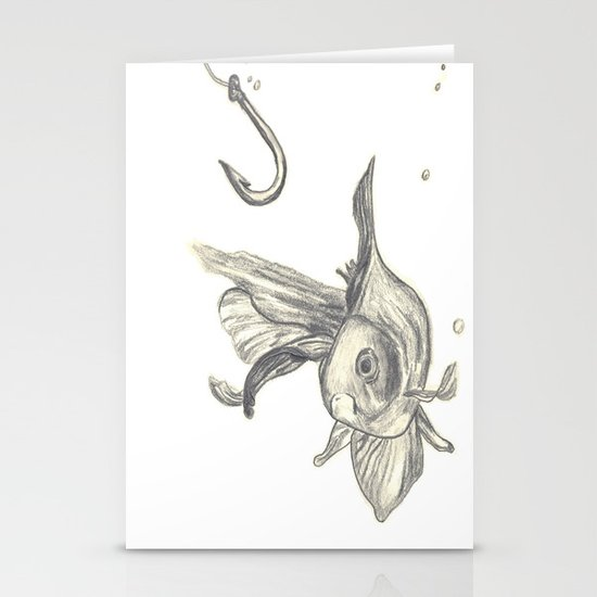 fishing in the fish tank Stationery Cards