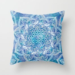 Flower of Life in Lotus - Watercolor Blue Throw Pillow