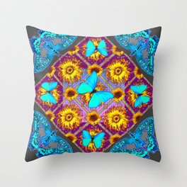 WESTERN STYLE TURQUOISE BUTTERFLIES FLORAL ART Throw Pillow