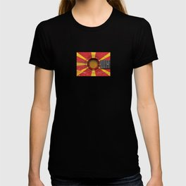 Old Vintage Acoustic Guitar with Macedonian Flag T-shirt