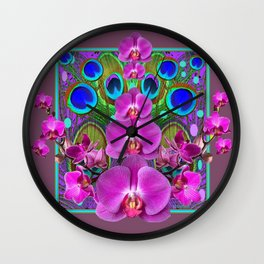 Puce Purple Pink Orchids Blue Peacock Feather Eyes Wall Clock