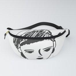 French girl white-black drawing Fanny Pack