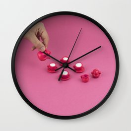 Tiny pink tea party Wall Clock