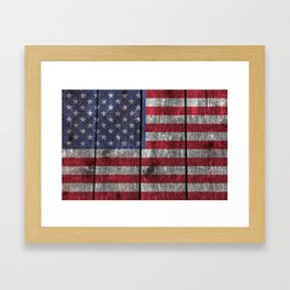 USA flag - on grainy wood Framed Art Print