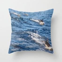 Dolphins Up and Down Throw Pillow