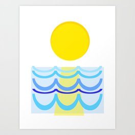 Abstract Sun over Water Seascape Art Print