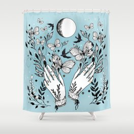 Full Moon Magic Of Nature With Blackbirds And Butterflies Shower Curtain
