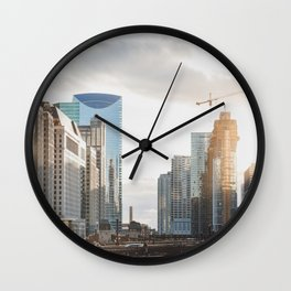 Sunset on State Street - Chicago Photography Wall Clock