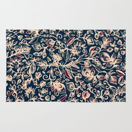 Navy Garden - floral doodle pattern in cream, dark red & blue Rug