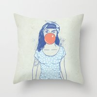 pin up Throw Pillows featuring pin up by Balazs Solti