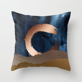 Navy Blue, Gold And Copper Abstract Art Throw Pillow