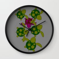 turtles Wall Clocks featuring Turtles  by MillennialBrake