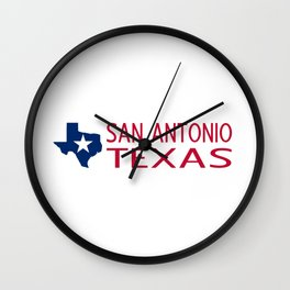 Texas: San Antonio (State Shape & Star) Wall Clock