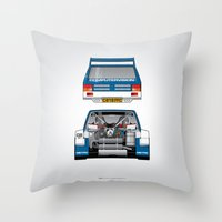 Outline Series N.º7, MG Metro 6R4, 1986 Throw Pillow