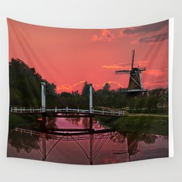 The deZwaan Dutch Windmill at Sunset Wall Tapestry