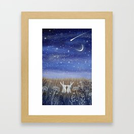 Hares and the Crescent Moon Framed Art Print